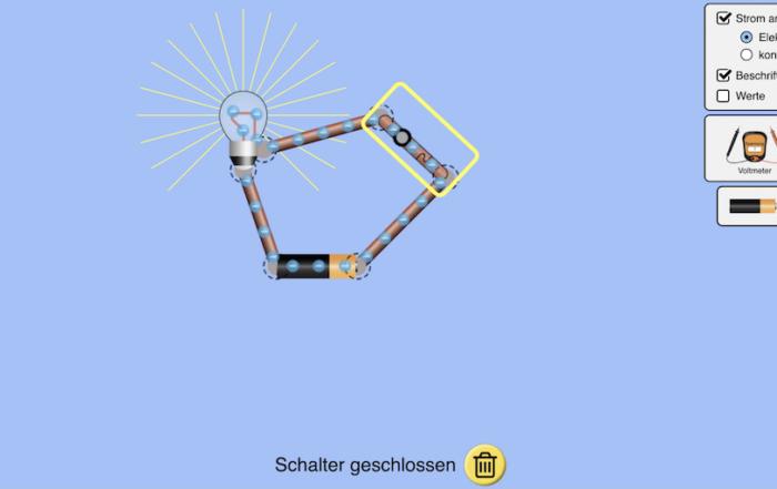 Screenshot eines Stromkreises in einer Phet-Simulation